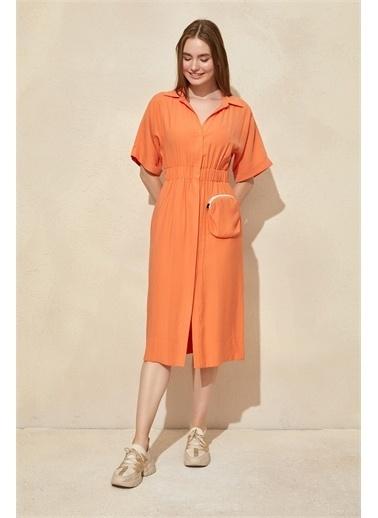 Setre Mor Hakim Yaka Midi Elbise Oranj